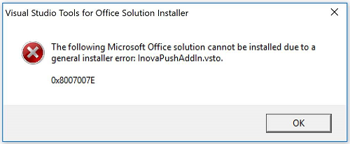 General installer error (0x8007007E) when trying to install